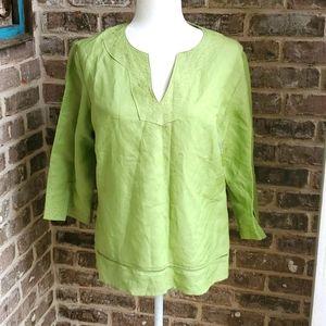Naji Vintage Green Linen Rayon Embroidered Tunic